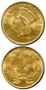 1874 Gold one dollar Type 3 Very nice high grade example. Dollar Usa, One Dollar, Dollar Coin, Antique Coins, Antique Gold, Buy Coins, Usa Gold, Coin Art, One Coin