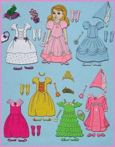 Pretty Princess - Felt Board Set - Felt Paper Dolls. SO CUTE*1500 free paper dolls for Christmas at The International Paper Doll Society and also free Asian paper dolls at The China Adventures of Arielle Gabriel *