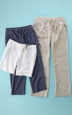 Nice selection of Knit-Waist Linen-Blend shorts and pants from J. Jill.