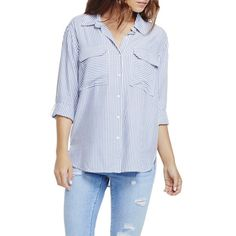 Two by Vince Camuto 'Classic Stripe' Oversize Utility Shirt ($79) ❤ liked on Polyvore featuring tops, chambray heather, chambray work shirt, striped long sleeve shirt, long sleeve stripe shirt, striped sleeve shirt and oversized shirt