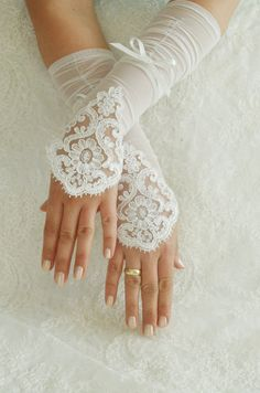 ivory Wedding Glove ivory lace gloves Fingerless by WEDDINGHome, $32.00