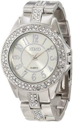 XOXO Women's XO5463 Rhinestone Accent Silver-Tone Analog Bracelet Watch  Price: $19.99