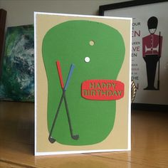 Card for a golfer made using First Edition dies