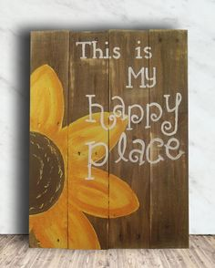 """G6 21x 15 Rustic Custom Garden Pallet Sign - This is My Happy Place Sign. Love to bring the garden into your home with a beautiful quote """"This is my happy place"""", the this is the perfect sign or you. This sign is handmade from reclaimed pallet wood and hand painted by me, so there may be imperfections. If you would like the sign stained or painted in another color the choices can be chosen at ( http://www.thepaintstudio.com/colors.php#/clark/1/21 ) and you can choose any of the colors…"""
