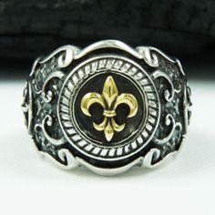 GOLD BRASS FLEUR DE LIS 925 STERLING SILVER US SZ 14.5 MEN'S BIKER RING tan-r003 #Handmade