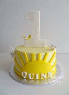 You are my sunshine first birthday smash cake. Buttercream smash cake with fondant accents