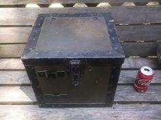 Strong box stagecoach train safe bank antique  cast iron HARDWARE original