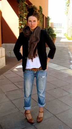 White tee, black blazer, boyfriend jeans, brown accessories.