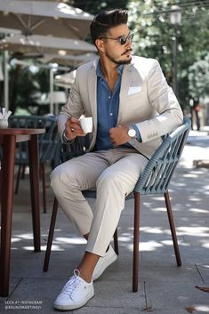Summer Business Casual Outfits, Summer Outfits Men, Business Casual Men, Mens Summer Wedding Outfits, Men Summer Fashion, Male Wedding Guest Outfit, Summer Men, Outfit Summer, Wedding Men