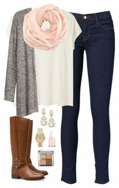 Love this whole outfit from the skinny jeans and boots to cardigan, tee shirt and pink scarf. Great casual Friday office look.
