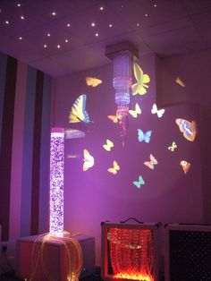 fiber optics, lava lamps, projected butterflies!