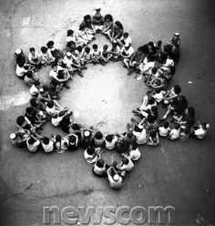 Star of David made up of Jewish children who survived the concentration camp Buchenwald.