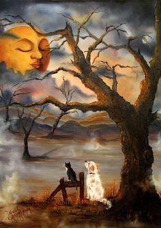 Art And Illustration, Art Fantaisiste, Beautiful Moon, Moon Art, Nocturne, Halloween Art, Vintage Halloween, Halloween Scene, Halloween Pictures