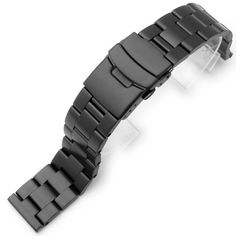 20mm SOLID 316L Stainless Steel Super Oyster Straight End Watch Band-PVD Black