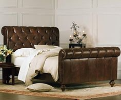 Grand in both scale and luxury, our Chesterfield bed blends generous proportions with the warmth and comfort of a rich, supple vintage chestnut full grain leather.