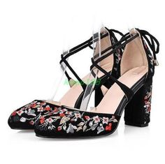 Womens-chinese-style-embroidery-floral-block-chunky-heel-sandals-wedding-shoes