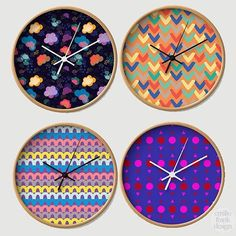TICK-TOCK: I needed a new studio clock so thought I would design one! Which is your fave? 🔸🔺🔹 EFD has a large portfolio of patterns waiting for the right collab, so DM us if are needing some colour + whimsy! 🔸🔺🔹 Groovy time pieces available via @society6 under Emilio Frank Design. X #colouroclock