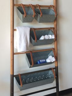 These bins have so many uses . We made them for use with our Bloak Ladders but the bins can be hung from any rod for additional storage . The leather straps remove easily. They look amazing planted as Bathroom Storage, Small Bathroom, Bathrooms, Metal Bins, Metal Baskets, Living Room Shelves, Simple Living Room, Creative Home, Home Organization