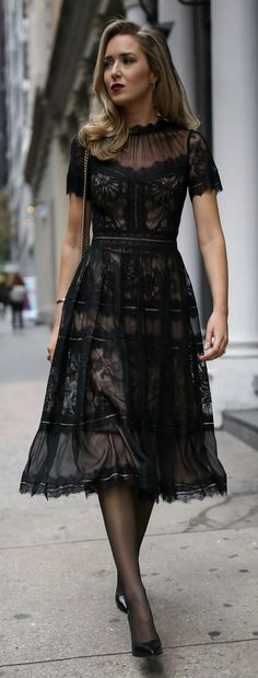 Click for outfit details! // Black pleated a-line tea-length lace dress with scallop hem, pointy toe black patent pump, black sheer tights, black shoulder bag with gold chain, deep red lip {Saint Laurent, Gucci, Tadashi Shoji, cocktail attire, semi-formal dress, winter wedding style, classic dress, fashion blogger}