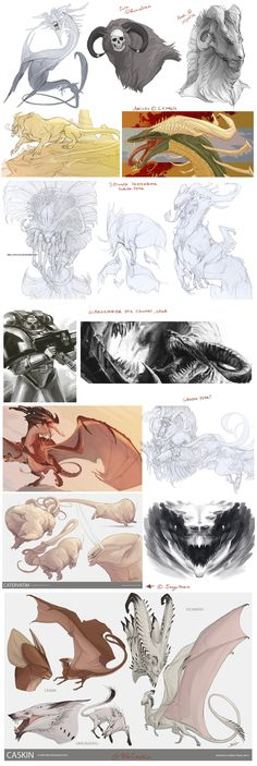 Creature Sketchdump 2 by *beastofoblivion on deviantART || CHARACTER DESIGN REFERENCES | Find more at https://www.facebook.com/CharacterDesignReferences if you're looking for: #art #character #design #model #sheet #illustration #best #concept #animation #drawing #archive #library #reference #anatomy #traditional #draw #development #artist #how #to #tutorial #conceptart #modelsheet #dragon #dragons