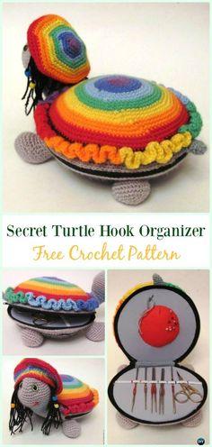 Secret Turtle Hook Organizer Free Pattern-#Crochet #HookCase & Holders Free Patterns