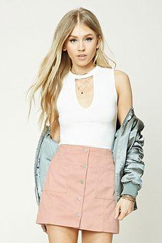 Faux Suede Mini Skirt