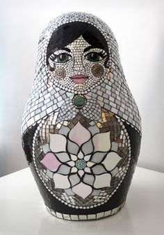 "Mosaic Matryoshka Sculpture (front view), mosaic by Kasia Polkowska, sculpture by Kyle Cunniff, 24"" high, 2011"