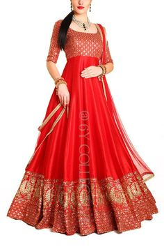 Kumkum Red Cascading Anarkali Party Wear Indian Dresses, Indian Fashion Dresses, Designer Party Wear Dresses, Indian Bridal Outfits, Indian Gowns Dresses, Kurti Designs Party Wear, Indian Designer Outfits, Pakistani Dresses, Kerala Saree Blouse Designs
