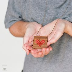 Red Heart  Pendant of square wooden with embroidered by idniama