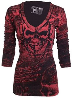 Xtreme Couture AFFLICTION Women LS T-Shirt KILLER Tattoo Biker Sinful: Size Chart : Width (Measured from below arm hole) Length (Measured from the top of shoulder where it meets the collar) Cotton Skull Fashion, Dark Fashion, Affliction Clothing Women, Estilo Rock, Purple T Shirts, Biker T Shirts, Couture Tops, Couture Details, T Shirts For Women
