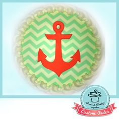 """Anchor and chevron custom 7"""" cake from facebook.com/graceandshelly"""