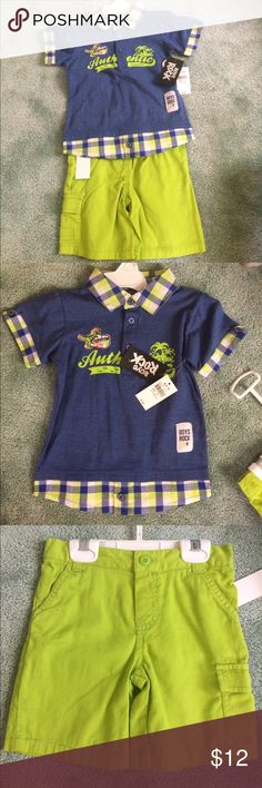2 pieces boys shorts set 2 piece 3T blue & green shirt set Matching Sets