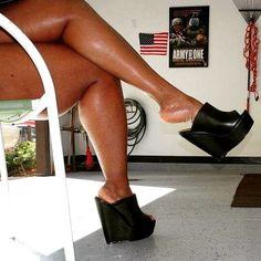 Black oily legs Sexy Legs And Heels, Hot Heels, Sexy High Heels, Wedge Heels, Beautiful High Heels, Gorgeous Feet, Botas Sexy, Big Legs, Women Legs