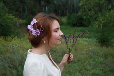 Light violet flower hairpiece - wedding flower accessory - romantic bridal hair piece - flower girl - bridesmaide