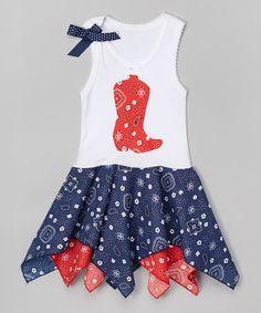 Look at this #zulilyfind! Red Boot Bandanna Handkerchief Dress - Infant, Toddler & Girls #zulilyfinds