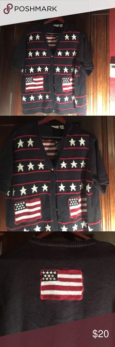 Patriotic Sweater, red, white and blue. C.J. Banks size 2X Stars and Stripes short sleeved sweater. Very nice looking both front and back, C J Banks Sweaters Cardigans