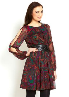 split sleeve print dress