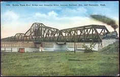 Double Track Steel Bridge over Columbia River between Portland, Oregon, and Vancouver, Washington.