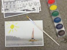 S'amuser cet été à customiser de vieilles cartes postales, les peindre, leur coller des paillettes, les broder. Ne pas oublier de les envoyer…..          source pinterest