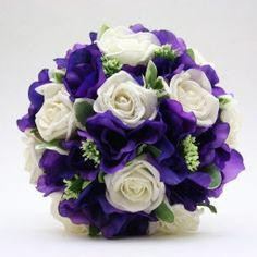 Artificial Silk Wedding Flowers - Handtied of Purple Lisianthus and Ivory Roses Prom Flowers, Purple Wedding Flowers, Bridal Flowers, Wedding Colours, Ivory Roses, White Roses, Purple Boutonniere, Lisianthus Flowers, Seashell Bouquet