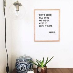"""Whether you're excited about it or not it's back-to-school (aka back-to-reality) time. This can be a challenging time an exciting time a stressful time... But """"what's comin will come and we'll meet it when it does."""" Thanks for the #mondaymotivation @letterfolkcoand of course Hagrid"""