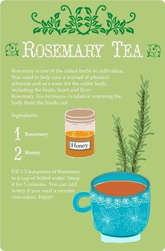 Rosemary Tea Card * Tarjeta Infusión de Romero and I hope this is ok for Mormons! It looks like it is herbal tea. Healing Herbs, Medicinal Herbs, Herbal Medicine, Natural Medicine, Salate Warm, Rosemary Tea, Homemade Tea, Tea Blends, Tea Recipes