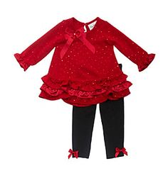 Rare Editions® Baby Girls' Fuzzy Knit Top With Leggings Set