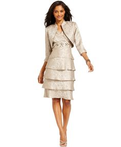 R&M Richards Tiered Embellished Dress and Jacket - Mother of the Bride Dresses - Women - Macy's