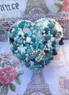 Blue Beaded Heart Bouquet