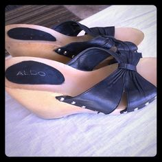 Aldo black wedges / sandals wood bottom sz 40 Aldo black wedges / sandals wood bottom sz 40 ALDO Shoes Wedges