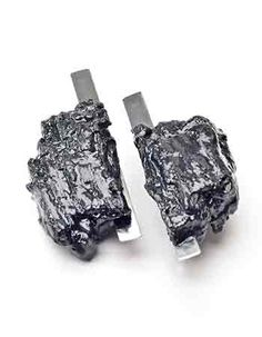 Artist: Checha Sokolovic: Meteorite Earrings, Stainless steel, sterling silver, charcoal, and resin. Architect Fashion, Metal Working, Jewelry Art, Larger, Charcoal, Resin, Cufflinks, Stainless Steel, Sculpture