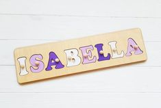 Wooden Name Puzzle is a wonderful Personalized Gift for baby girl and baby boy.Wooden Name Sign is a wood gift for Birthday Gift, Baby Shower, Christmas Gift, Easter, Baptism Gift, nursery decor . Custom Name Puzzle is a montessori toys, educational toys, wood toys, develops a child: fine motor skills, coordination of movement, attention and assiduity, logical thinking and memory.♥♥ DIMENSIONS PUZZLE. ♥ The height of the board is 4.0 inches (10 cm); The thickness of the board is 0.4 Jigsaw Puzzles For Kids, Puzzles For Toddlers, Wooden Puzzles, Wooden Letters, Baby Girl Toys, Baby Girl Gifts, Baby Boy, Puzzle Logo, Name Puzzle