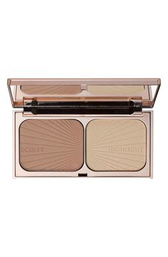 Instantly carve out cheekbones with Filmstar Bronze & Glow. Suck in your cheekbones and follow the hollow with the bronzer.