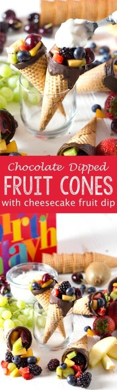 Chocolate dipped fruit cones with a cheesecake fruit dip that is light, fluffy, and delicious